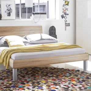 Designerbett aus MDF Dekor silber 140x200 cm - Mendo
