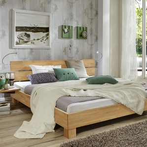 Massives Futonbett aus Buche weiß 140x200 cm - Mera