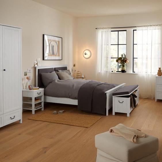 Bett mit gepolstertem Kopfteil - grau - Holz -