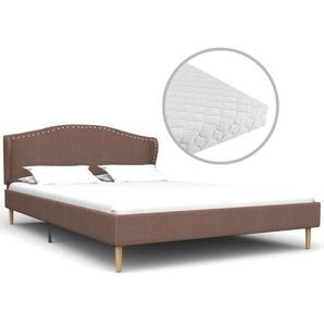 Bett mit Matratze Braun Stoff 140 x 200 cm - VIDAXL