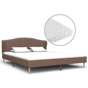 Bett mit Matratze Braun Stoff 160 x 200 cm - VIDAXL