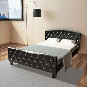 Bett mit Matratze Schwarz Kunstleder 140×200 cm - VIDAXL