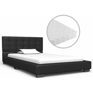 Bett mit Matratze Schwarz Kunstleder 90 x 200 cm - VIDAXL