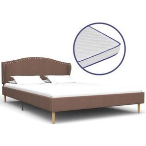Bett mit Memory-Schaum-Matratze Braun Stoff 120×200 cm - VIDAXL