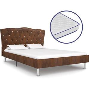 Bett mit Memory-Schaum-Matratze Braun Stoff 140×200 cm - VIDAXL