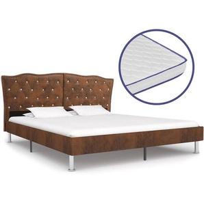 Bett mit Memory-Schaum-Matratze Braun Stoff 180×200 cm - VIDAXL