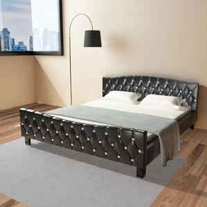 Bett mit Memory-Schaum-Matratze Schwarz Kunstleder 180×200 cm - VIDAXL