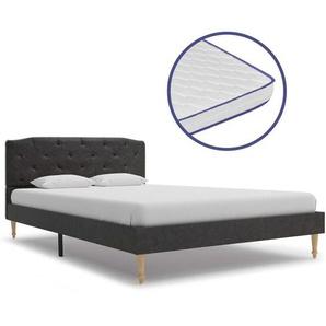 Bett mit Memory-Schaum-Matratze Schwarz Stoff 120×200 cm - VIDAXL