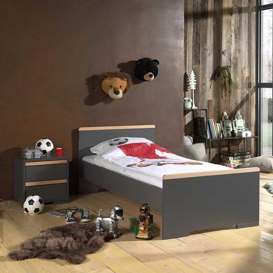 Bett mit Nachtkonsole Jugendzimmer (2-teilig)