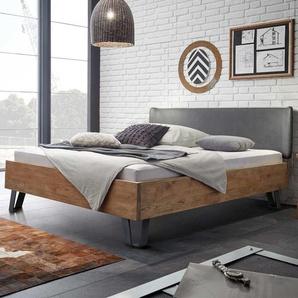 Bett mit Polsterkopfteil in Grau Wildeiche Massivholz