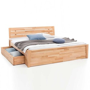 Bett mit Schubladen Kernbuche massiv geölt