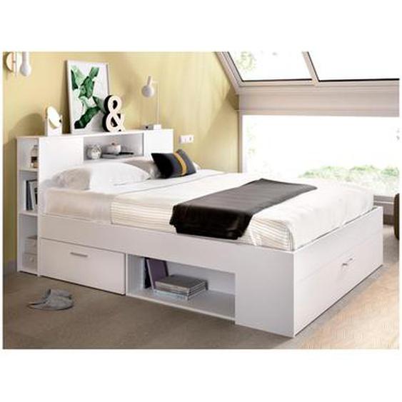 Bett mit Stauraum & Schubladen LEANDRE - 140x190 cm - Weiß