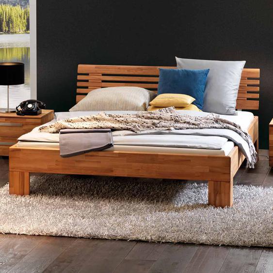 Bett mit verstrebtem Kopfteil Kernbuche Massivholz