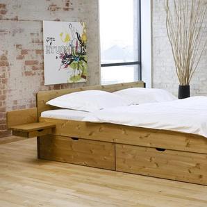 Bett Norwegen, weiß mit Holzstruktur, 180x200 cm