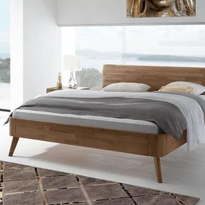 Massives Nussbaum-Bett mit gebogenem Holzkopfteil 180x200 cm - Parkano