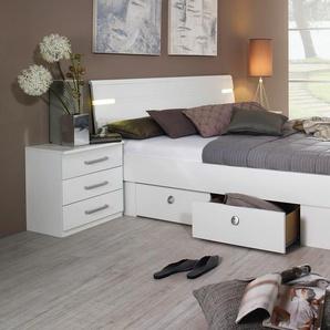 Bett »Rasa«, weiß, 180x200 cm, verstellbar, , , mit Schubkästen, rauch