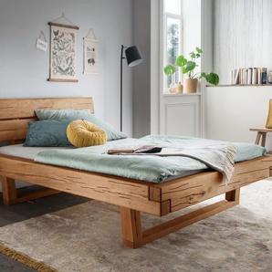Stabiles Balkenbett aus Wildeichenholz 200x200 cm - Rigolato