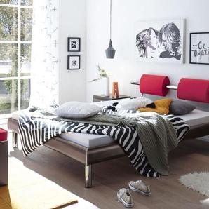 Designerbett mit Nackenrolle Rocio - 90x200 cm - silber