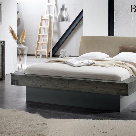 Bett Romero, Akazie grau, 180x220 cm, ohne Lattenrost