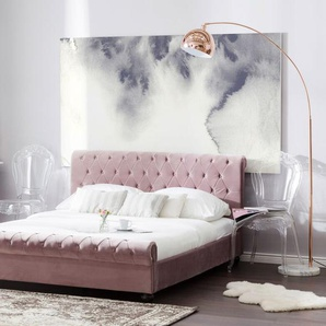Polsterbett rosa Lattenrost 160 x 200 cm AVALLON