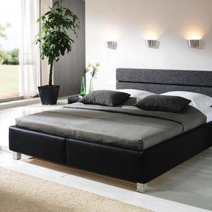 Lederbett mit Bettkasten - 120x200 cm - schwarz - Bett Sanremo