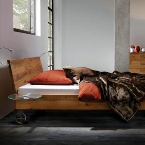 Echtholzbett mit rustikalen Füßen Santo - 160x200 cm - Wildeiche weiß