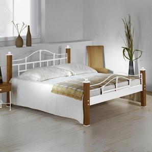Eisenbett mit Eichenholz Sinja - 180x200 cm - weiß