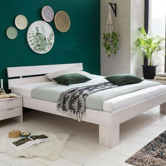 Bett Tanu, weiß mit Holzstruktur, 180x200 cm