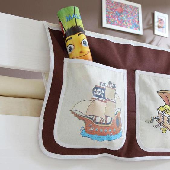 Bett-Tasche, 56x32 cm (BxH), Öko-Tex®-zertifiziert, Ticaa, braun, Material Baumwolle