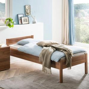 Seniorenbett in Komforthöhe - 90x200 cm - Nussbaum - Einzelbett Trevalli