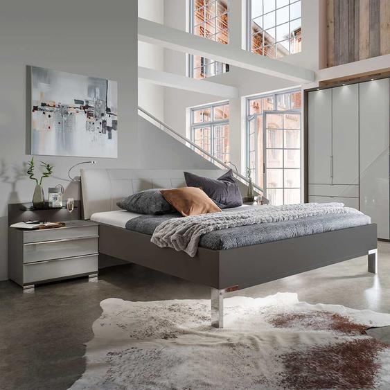 Bett und Nachtkommoden in Hellgrau Braun LED Beleuchtung (3-teilig)