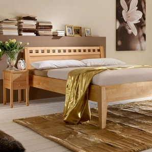 Holzbett mit Kopfteil - 200x210 cm - Kernbuche natur - Wallis