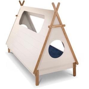 Bett, Weiß, Holzoptik