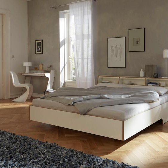 Bett, weiß, Material Birke / Schichtholz / Holz »Slope«, Müller SMALL LIVING, mit LED-Beleuchtung