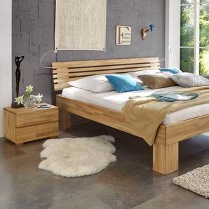 Bett Wood Romance, Buche kirschbaumfarben, 200x220 cm, Fußhöhe 30 cm