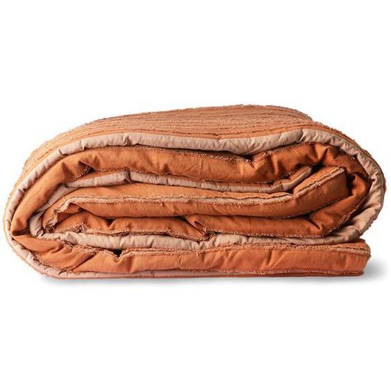 Bettdecke mit aufgenähten Streifen aus Baumwolle in Braun 240 x 260 cm