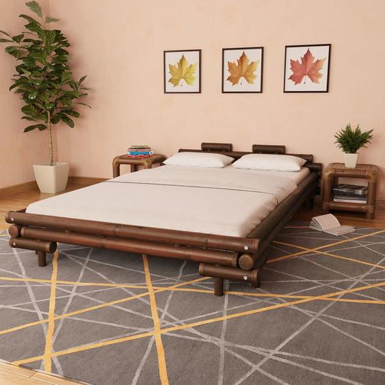 Hommoo Bettgestell Dunkelbraun Bambus 140x200 cm VD13185