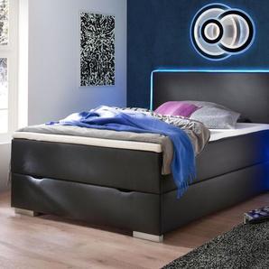 Bettkasten-Boxspringbett Merwin, schwarz, 120x200 cm, H2 bis 80kg