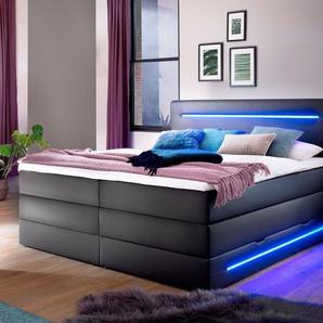 Bettkasten-Boxspringbett Tollocan, schwarz, 180x200 cm, H2 bis 80kg
