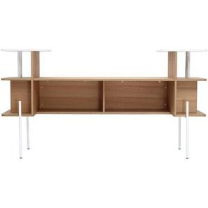 Bettkopfteil  Schreibtisch Holz und Weiß AMANDA