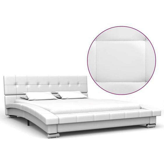 Hommoo Bettrahmen Weiß Kunstleder 200 x 120 cm VD22654