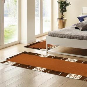 Bettumrandung »Ambadi« THEKO, Höhe 14 mm, (3-tlg), Bettvorleger, Läufer-Set für das Schlafzimmer, reine Wolle, mit Bordüre