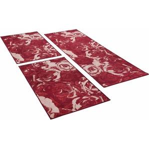 Bettumrandung »Flomi Rose« THEKO, Höhe 4 mm, (3-tlg), Bettvorleger, Läufer-Set für das Schlafzimmer, gewebt, Rosen Motiv