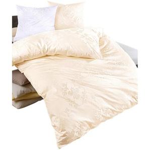 Bettwäsche B/L: 135 cm x 200 cm, Bettbezüge: 1 St. Kissenbezüge: St., Damast, 80 beige Damast-Bettwäsche nach Material Bettwäsche, Bettlaken und Betttücher