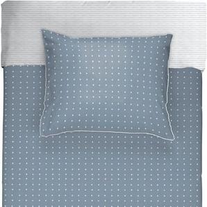 WALRA Bettwäsche Square Nights dunkelblau 100 /% Baumwolle Karo-Muster