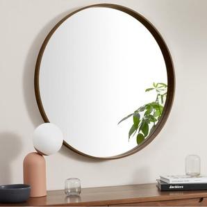 Essentials Bex grosser runder Spiegel (o 76 cm), Walnuss