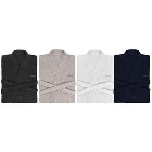 Biberna Bademantel/Kimono, unisex, reine Baumwolle, kurzes Design, Gürtel und 2 Taschen