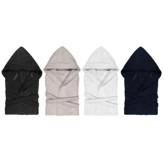 Biberna Bademantel, unisex, aus Velours, reine Baumwolle, mit Gürtel und 2 Taschen