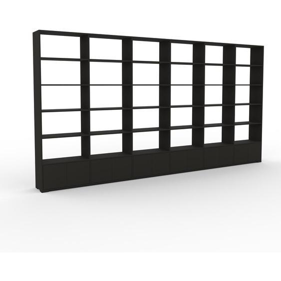 Bibliotheksregal Anthrazit - Individuelles Regal für Bibliothek: Türen in Anthrazit - 450 x 235 x 35 cm, konfigurierbar