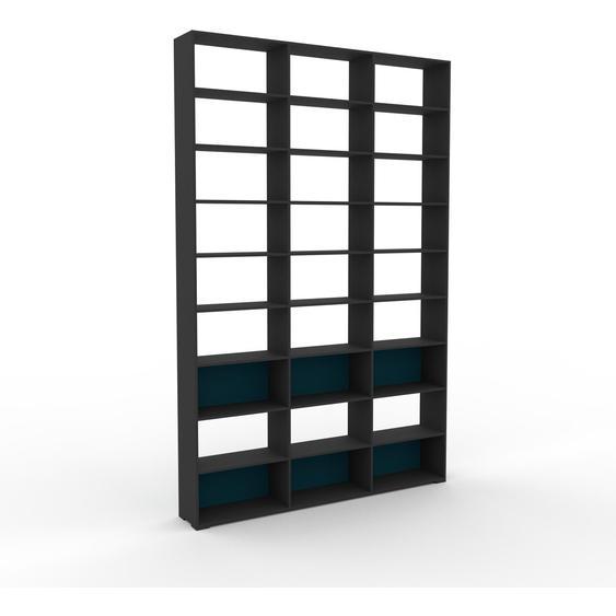 Bibliotheksregal Blaugrün - Individuelles Regal für Bibliothek: Einzigartiges Design - 226 x 350 x 35 cm, konfigurierbar